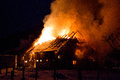 Blazing fire destroyed barn Royalty Free Stock Photo