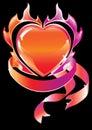 Blazing heart over dark Royalty Free Stock Photo