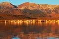 Blazing orange sunset on Mono Lake Royalty Free Stock Photo