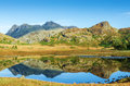 Blea tarn english lake district cumbria langdale pike reflection in clear at in the in uk on sunny day Stock Images