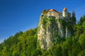 Bled castle on a rock Stock Photo
