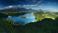 Bled lake in julian alps slovenia panorama from small osojnica on Stock Image