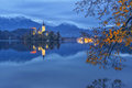 Bled lake and pilgrimage church at twilight reflected in water Royalty Free Stock Photo