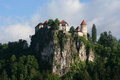 Bled medieval castle on lake slovenia Stock Image