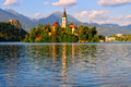 Bled slovenia beautiful monastery on the island in the middle of the lake in Royalty Free Stock Photo