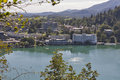 Bled town cityscape with lake Royalty Free Stock Photo