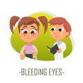 Bleeding eyes medical concept. Vector illustration.