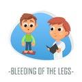 Bleeding of the legs medical concept. Vector illustration.