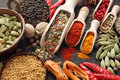 Blend of spices colorful on wooden spoons and copper bowl beautiful kitchen image Stock Image