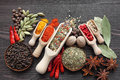 Blend of spices colorful on wooden spoons and copper bowl beautiful kitchen image Stock Photos