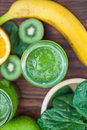 Blended smoothie with ingredients selective focus square image vertical Stock Photo