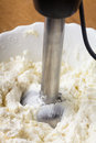 Blender in curd cooking a dessert closeup Stock Photography