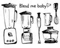 Blender sketch vector illustration. Smoothie doodle cartooning on white background