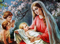 Blessed mary with child jesus an old image from an anonymous author Stock Image