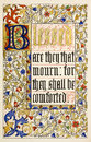Blessed mourn shall be comforted christ s sermon mount st matthew s gospel ch beautiful calligraphy illumination frontispiece Royalty Free Stock Image