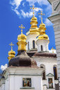 Blessed virgin church holy assumption pechrsk lavra cathedra kiev ukraine ornate crosses gold domes birth oldest ortordox Royalty Free Stock Image
