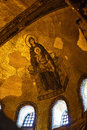 Blessed Virgin Mary with baby Jesus Byzantine mosaic art on the Hagia Sophia apse Royalty Free Stock Photo