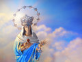 Blessed virgin mary beautiful depiction of the with crown of stars in the heavens Stock Images