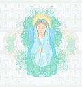 Blessed virgin mary portrait illustration Royalty Free Stock Photo