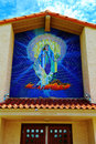Blessed virgin mary tile mural at a old catholic church Royalty Free Stock Images