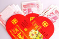 Blessing red envelopes of china every chinese traditional festival the spring festival the boss or elders tend to put some cash in Royalty Free Stock Images