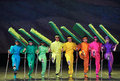 Blind colorful dance december in nanchang china disabled art troupe performances Royalty Free Stock Photography