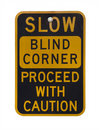 Blind corner warning sign Royalty Free Stock Photos
