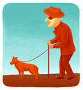 Blind man with a dog Royalty Free Stock Images