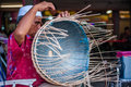 Blind man weaving basket a from rattan Stock Photo