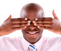 Blinded business man covering his eyes isolated over white background Stock Photo