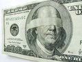 Blindfolded ben franklin one hundred dollar bill illustrates economic uncertainty on this might illustrate mixed direction or Stock Photos