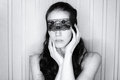 Blindfolded sexy woman portrait of black and white Royalty Free Stock Image