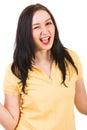 Blinking happy woman Royalty Free Stock Photo