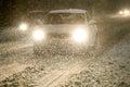 Blizzard at night Royalty Free Stock Photo