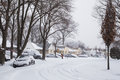 Blizzard west hempstead ny jan snow covered street on long island ny on jan after snow storm this powerful nor easter named Royalty Free Stock Photography