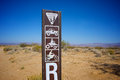 Blm bureau of land management road marker identifies a trail in the mojave desert Stock Photos