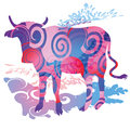 Blobs and cow animal background Stock Photo