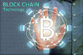 Block chain network concept and bitcoin icons, double exposure o