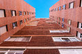Block of council flats low viewpoint perspective Royalty Free Stock Image