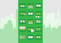 Block of flats illustration with various accesories in cityscape Royalty Free Stock Photos