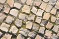 Block pavements the cobbled stone paved road Royalty Free Stock Photo