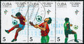 Block of postage stamps for the World Cup in 1990