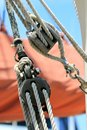 Block and tackle from a sail boat Royalty Free Stock Photo