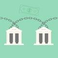Blockchain bank transaction concept