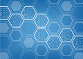 Blockchain blue background with hexagonal shaped pattern