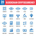 Blockchain cryptocurrency - 20 vector icons. Modern computer network technology sign set. Digital graphic symbols. Bitcoin.