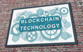 Blockchain technology concept on a billboard Royalty Free Stock Photo