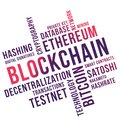 Blockchain word cloud collage, business concept backgroundn