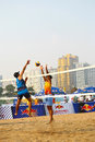 Blocking in beach volleyball game Royalty Free Stock Photography