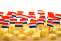 Blocks of Dutch cheese on a wooden tray Royalty Free Stock Photo